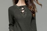NEW STACY's Classic Knitted Sweater with Grommets and Laced Front