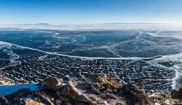 a view from above of the Baikal Lake