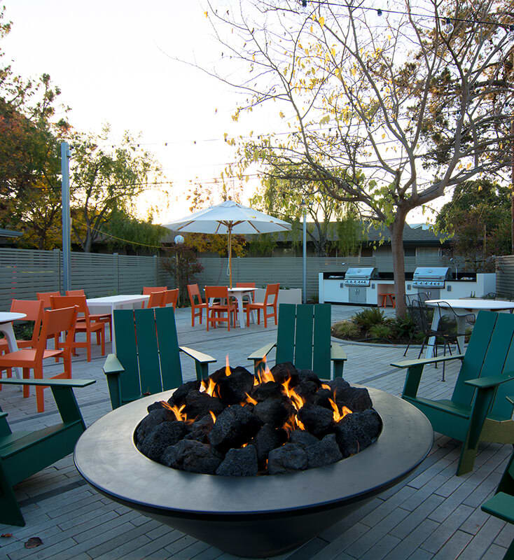 Outdoor patio with firepit and chairs