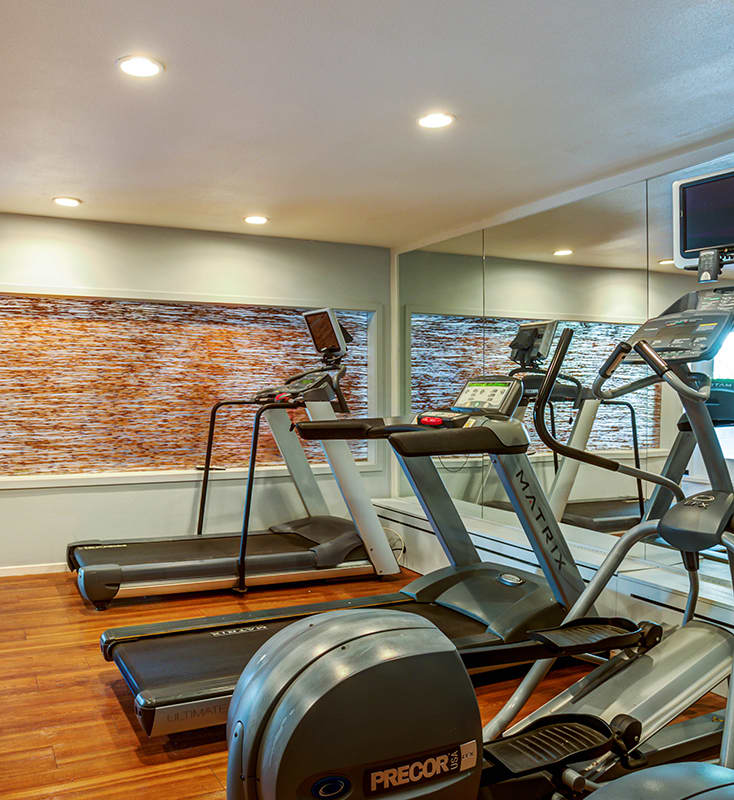 Fitness room with treadmills and ellipticals