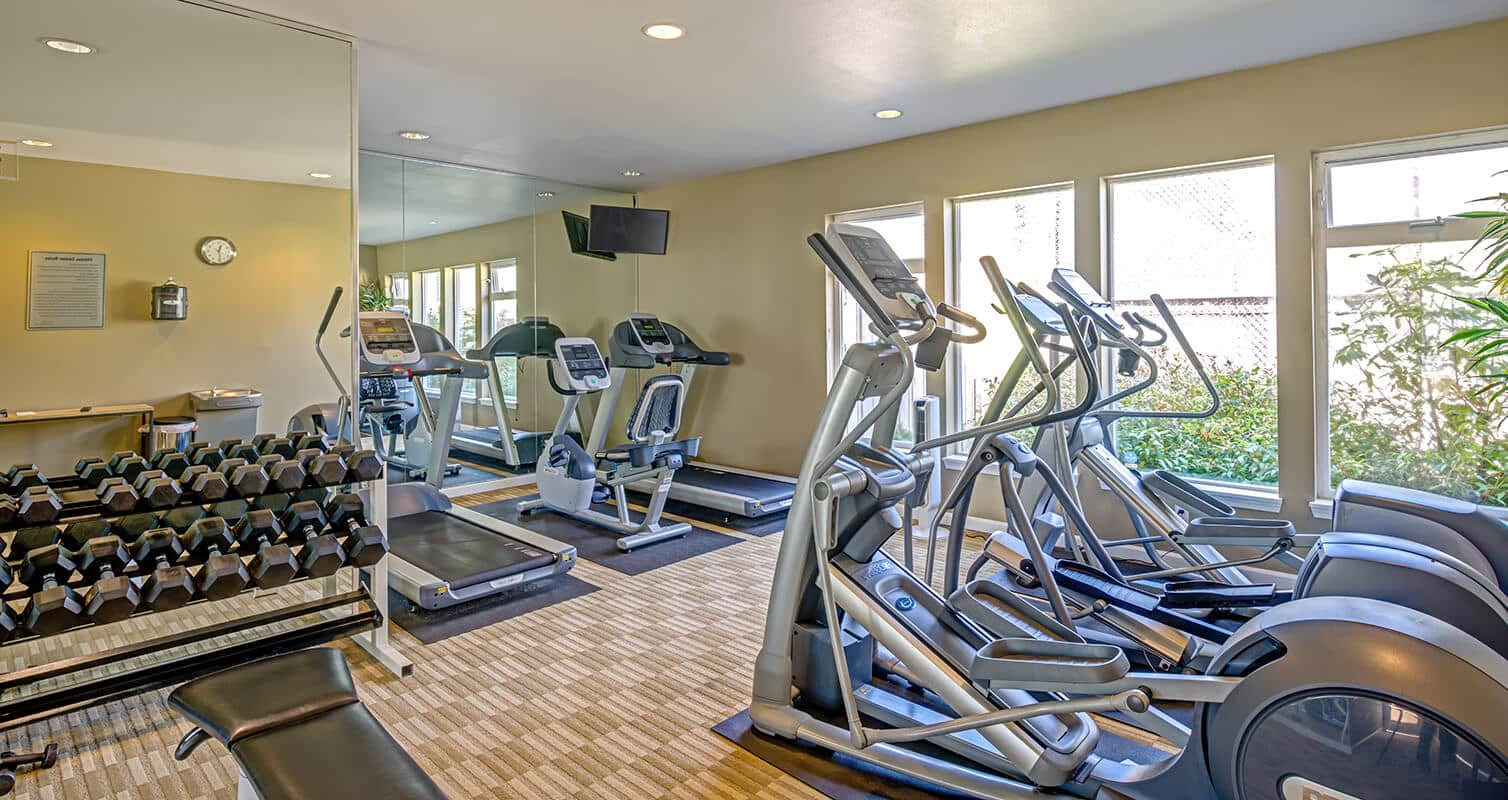 Fitness center with free weights, treadmill and elliptical