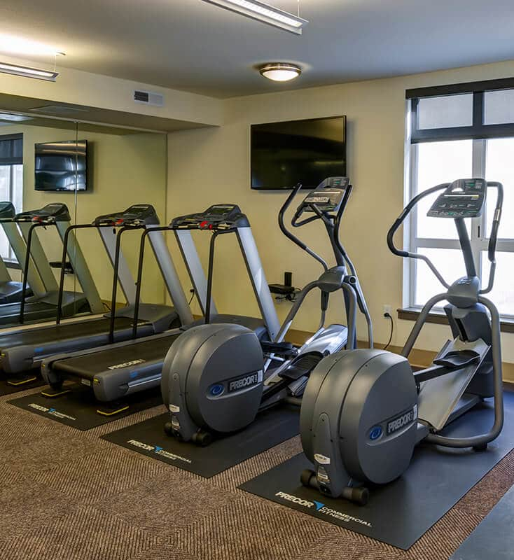 Fitness center with ellipticals and treadmills