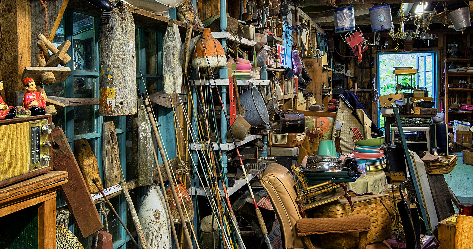 A cluttered room, filled wall to wall with junk