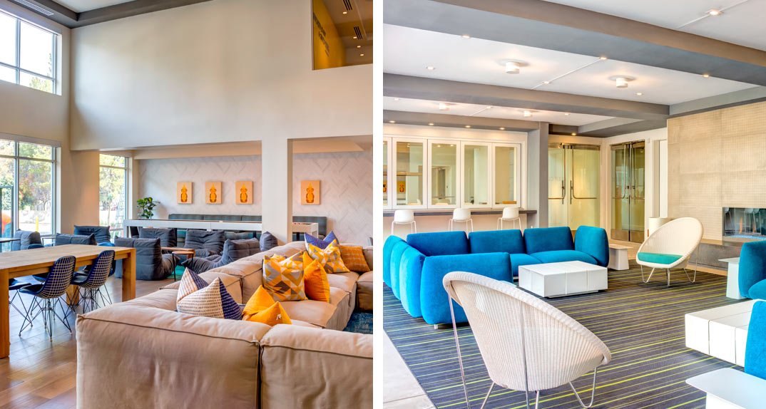 cobalt apartments: two photos, one of an indoor lounge and one of an outdoor lounge