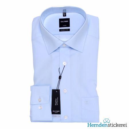 Olymp Herren Hemd Luxor MODERN FIT 1/1 Arm New Kent-Kragen mit Brusttasche Blau