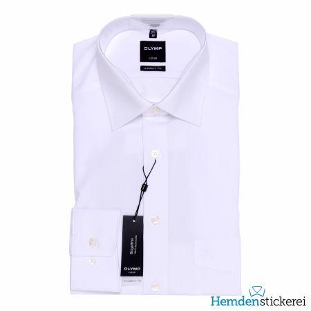 Olymp Herren Hemd Luxor MODERN FIT 1/1 Arm New Kent-Kragen mit Brusttasche Weiß
