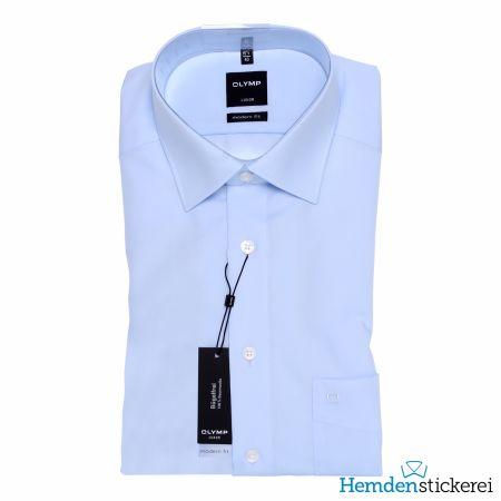 Olymp Herren Hemd Luxor MODERN FIT 1/2 Arm New Kent-Kragen mit Brusttasche Blau