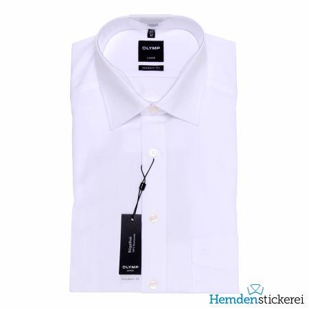 Olymp Herren Hemd Luxor MODERN FIT 1/2 Arm New Kent-Kragen mit Brusttasche Weiß