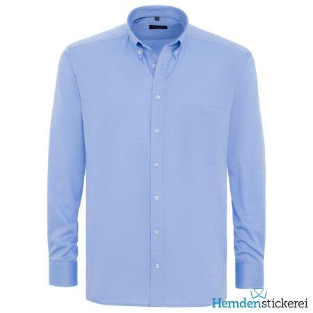 Eterna Herren Hemd COMFORT FIT Pinpoint 1/1 Arm Button-Down-Kragen mit Brusttasche Mittelblau