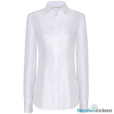Eterna Damen Bluse SLIM FIT Popeline Stretch 1/1 Arm mit Kragen Weiß