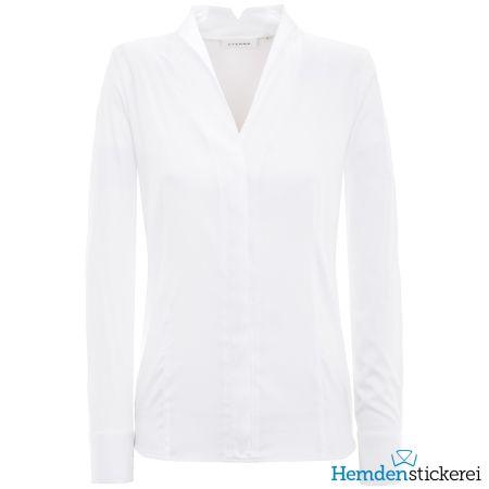 Eterna Damen Bluse COMFORT FIT Popeline Stretch 1/1 Arm Stehkelch-Kragen Weiß