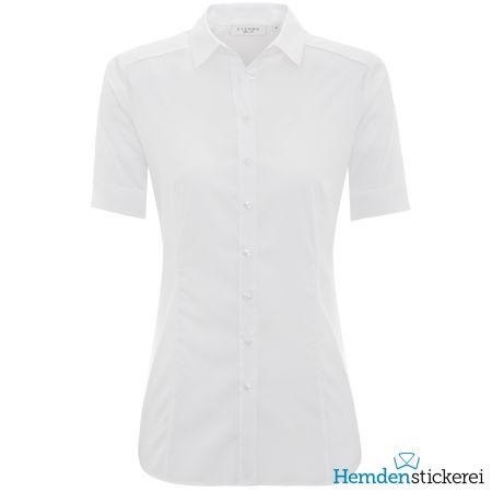 Eterna Damen Bluse SLIM FIT Popeline Stretch 1/2 Arm mit Kragen Weiß