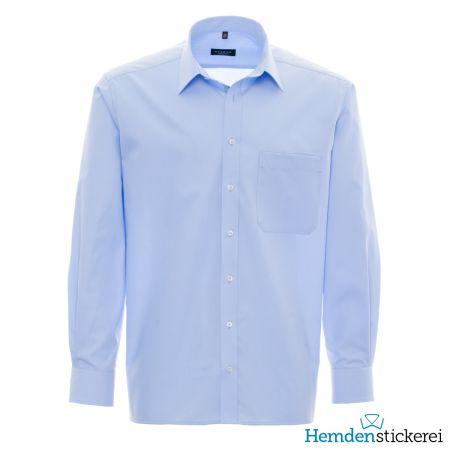 Eterna Herren Hemd COMFORT FIT Popeline 1/1 Arm Basic Kent-Kragen mit Brusttasche Blau
