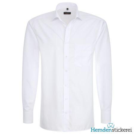 Eterna Herren Hemd MODERN FIT Popeline 1/1 Arm Classic Kent-Kragen mit Brusttasche Weiß