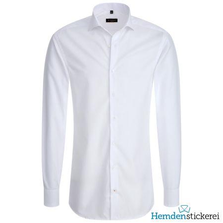 Eterna Herren Hemd SLIM FIT Popeline 1/1 Arm Hai-Kragen Weiß