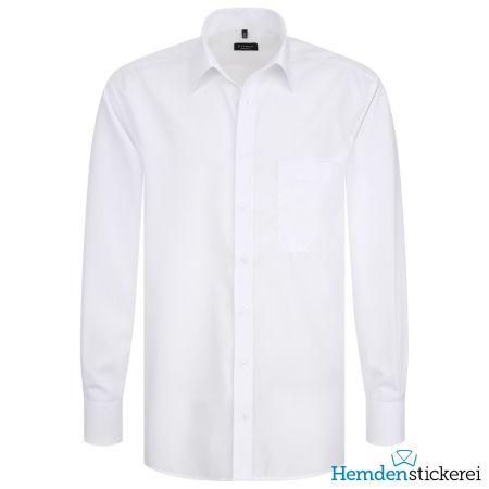 Eterna Herren Hemd COMFORT FIT Popeline 1/1 Arm Basic Kent-Kragen mit Brusttasche Weiß