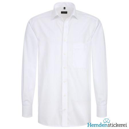 Eterna Herren Hemd COMFORT FIT Popeline 1/1 Arm Classic Kent-Kragen mit Brusttasche Weiß