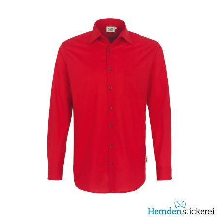 Hakro Herren Hemd 1/1 Arm Performance Kent-Kragen mit Brusttasche Rot