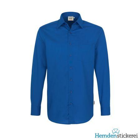 Hakro Herren Hemd 1/1 Arm Performance Kent-Kragen mit Brusttasche Royalblau
