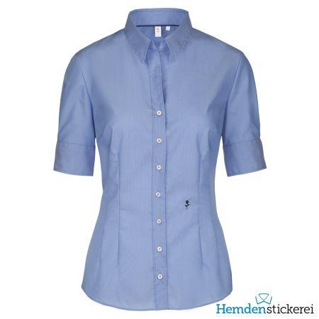 Seidensticker Damen Bluse SLIM 1/2 Arm Kent-Kragen bügelfrei Blau