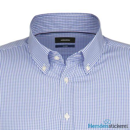 Seidensticker Herren Hemd SHAPED 1/1 Arm Button-Down-Kragen bügelfrei Blau kariert