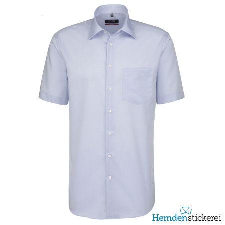 Seidensticker Herren Hemd REGULAR 1/2 Arm Kent-Kragen mit Brusttasche bügelfrei Blau