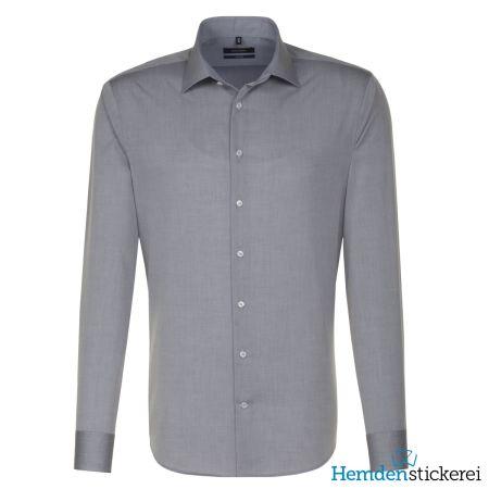 Seidensticker Herren Hemd SHAPED 1/1 Arm Kent-Kragen bügelfrei grau