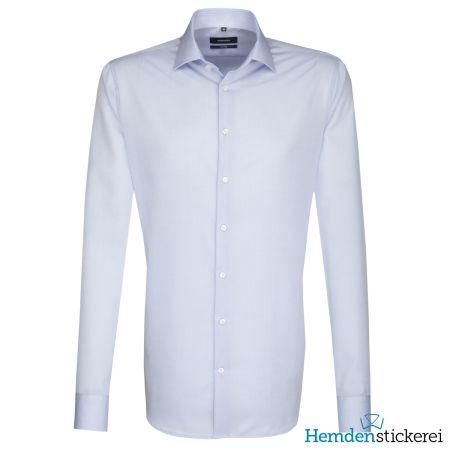 Seidensticker Herren Hemd SHAPED 1/1 Arm Kent-Kragen bügelfrei Blau