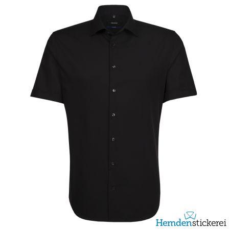 Seidensticker Herren Hemd SHAPED 1/2 Arm Kent-Kragen bügelleicht Schwarz
