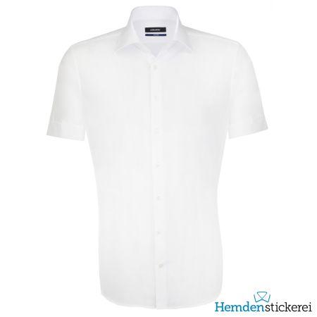 Seidensticker Herren Hemd SHAPED 1/2 Arm Kent-Kragen bügelleicht Weiß