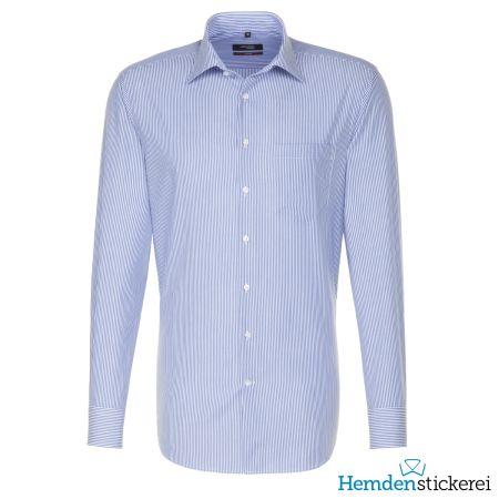 Seidensticker Herren Hemd REGULAR 1/1 Arm Kent-Kragen mit Brusttasche bügelfrei Blau gestreift