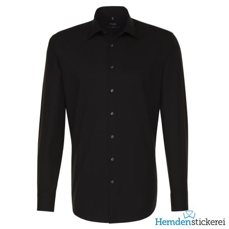 Seidensticker Herren Hemd REGULAR 1/1 Arm Kent-Kragen mit Brusttasche bügelfrei Schwarz