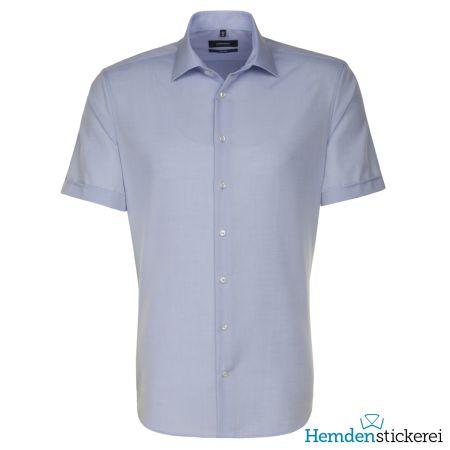 Seidensticker Herren Hemd SHAPED 1/2 Arm Kent-Kragen bügelfrei Blau