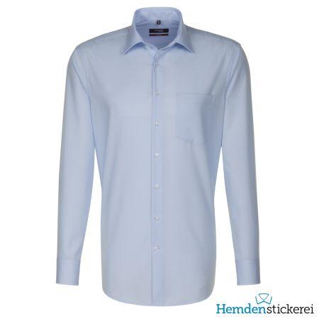 Seidensticker Herren Hemd REGULAR 1/1 Arm Kent-Kragen mit Brusttasche bügelfrei Blau kariert
