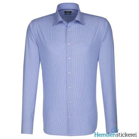 Seidensticker Herren Hemd SHAPED 1/1 Arm Kent-Kragen bügelleicht Blau