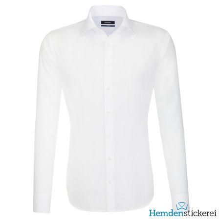 Seidensticker Herren Hemd SHAPED 1/1 Arm Kent-Kragen bügelfrei Weiß