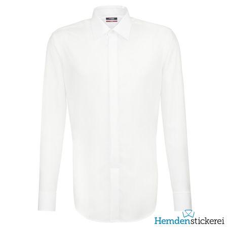 Seidensticker Herren Hemd REGULAR 1/1 Arm Kent-Kragen bügelfrei Weiß