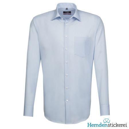 Seidensticker Herren Hemd REGULAR 1/1 Arm Kent-Kragen mit Brusttasche bügelfrei extra lang Hellblau