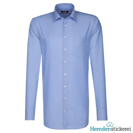 Seidensticker Herren Hemd REGULAR 1/1 Arm Kent-Kragen mit Brusttasche bügelfrei extra lang Blau