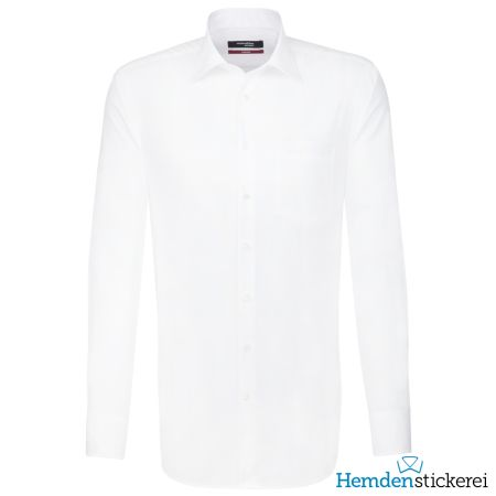 Seidensticker Herren Hemd REGULAR 1/1 Arm Kent-Kragen mit Brusttasche bügelfrei extra lang Weiß