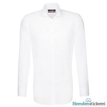 Seidensticker Herren Hemd REGULAR 1/1 Arm Hai-Kragen mit Brusttasche bügelfrei Weiß
