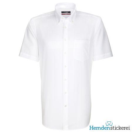 Seidensticker Herren Hemd REGULAR 1/2 Arm Button-Down-Kragen mit Brusttasche bügelleicht Weiß