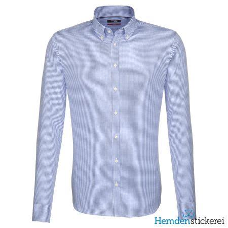 Seidensticker Herren Hemd REGULAR 1/1 Arm Kent-Kragen mit Brusttasche bügelfrei Blau Karo-Optik