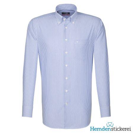 Seidensticker Herren Hemd REGULAR 1/1 Arm Button-Down-Kragen mit Brusttasche bügelfrei blau
