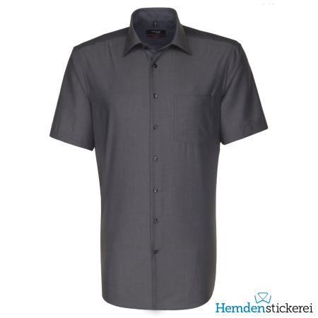 Seidensticker Herren Hemd REGULAR 1/2 Arm Kent-Kragen mit Brusttasche bügelfrei Grau
