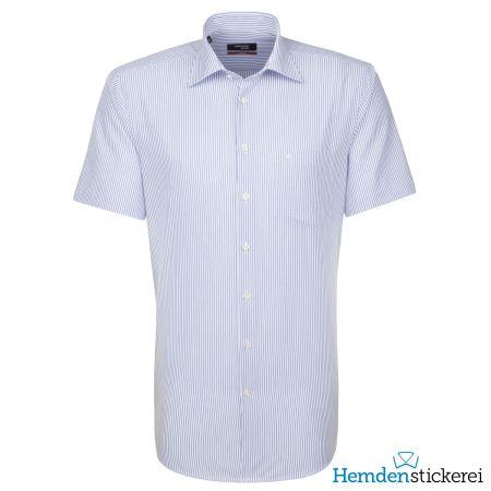 Seidensticker Herren Hemd REGULAR 1/2 Arm Kent-Kragen bügelfrei Blau