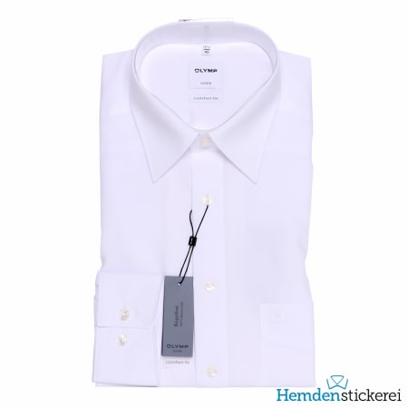 Olymp Hemd Luxor COMFORT FIT 1/1 Arm Kent-Kragen Brusttasche Weiß