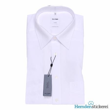 Olymp Hemd Luxor COMFORT FIT 1/2 Arm Kent-Kragen Brusttasche Weiß