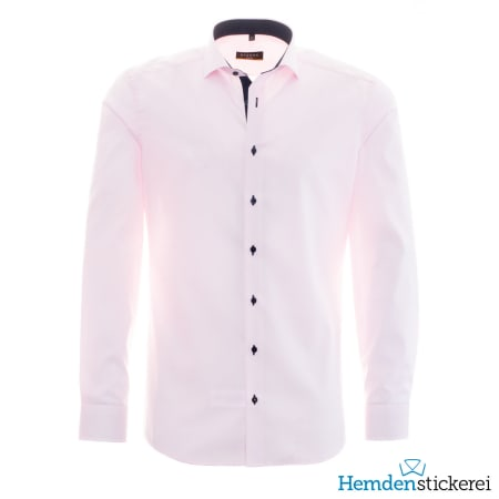 Eterna Hemd SLIM FIT Pinpoint 1/1 Arm Hai-Kragen Patchung Rosa