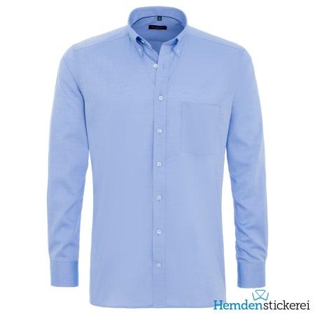 Eterna Hemd MODERN FIT Pinpoint 1/1 Arm Button-Down-Kragen Brusttasche Mittelblau